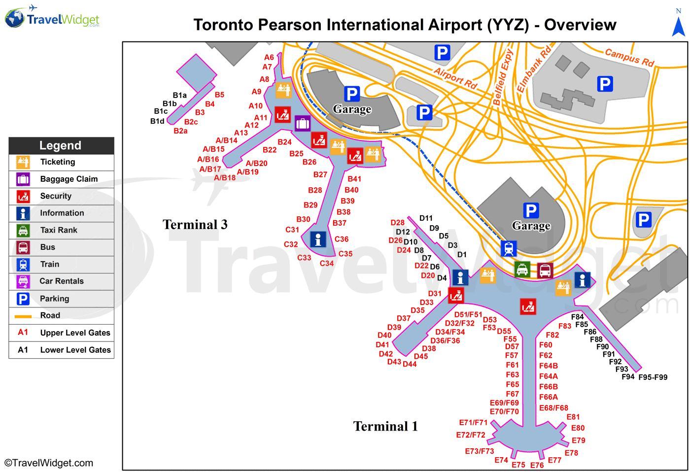 Carte Canada Aeroport.Plan Aeroport International Pearson Toronto Carte Aeroport